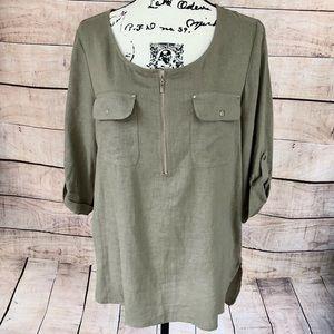 Dana Buchman Olive Green Tunic Top Size M